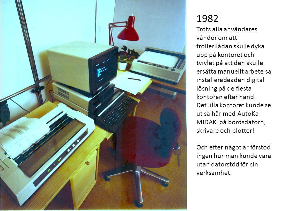 1982 Trots alla användares våndor om att trollerilådan skulle dyka upp på kontoret och tvivlet på att den skulle ersätta manuellt arbete så installerades den digital lösning på de flesta kontoren efter hand.