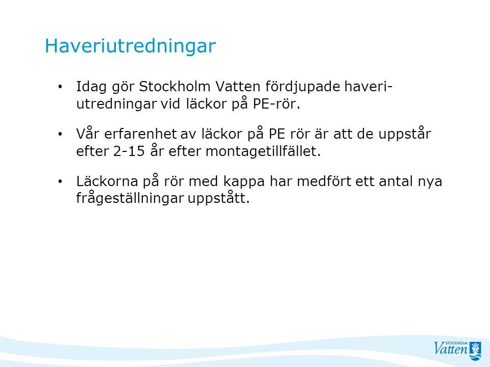 Haveriutredningar Idag gör Stockholm Vatten fördjupade haveri- utredningar vid läckor på PE-rör. Vår erfarenhet av läckor på PE rör är att de uppstår