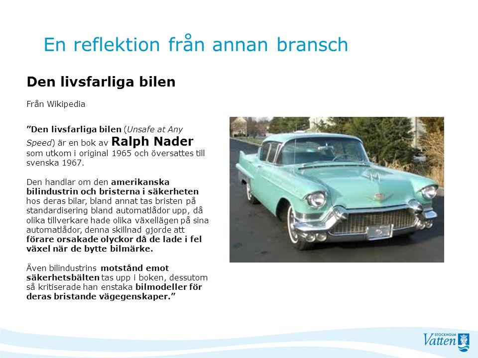 """En reflektion från annan bransch Den livsfarliga bilen Från Wikipedia """"Den livsfarliga bilen (Unsafe at Any Speed) är en bok av Ralph Nader som utkom"""