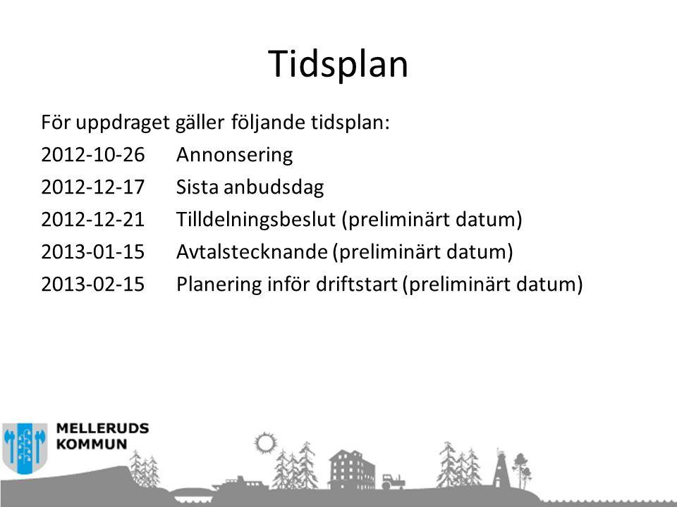 Tidsplan För uppdraget gäller följande tidsplan: 2012-10-26 Annonsering 2012-12-17Sista anbudsdag 2012-12-21Tilldelningsbeslut (preliminärt datum) 2013-01-15Avtalstecknande (preliminärt datum) 2013-02-15Planering inför driftstart (preliminärt datum)