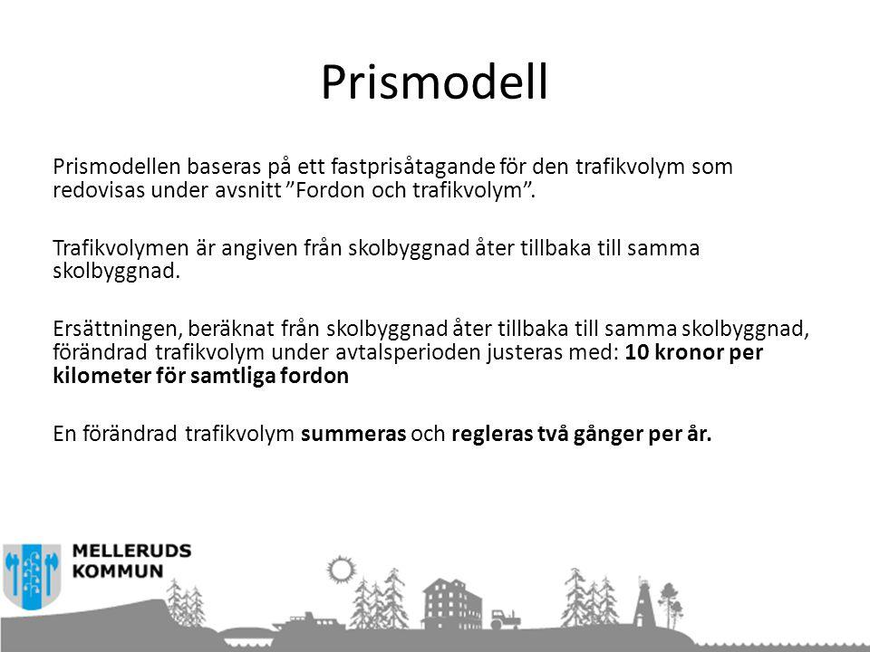 """Prismodell Prismodellen baseras på ett fastprisåtagande för den trafikvolym som redovisas under avsnitt """"Fordon och trafikvolym"""". Trafikvolymen är ang"""