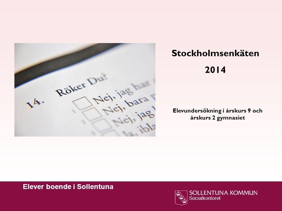 Socialkontoret Elever boende i Sollentuna Stockholmsenkäten 2014 Elevundersökning i årskurs 9 och årskurs 2 gymnasiet