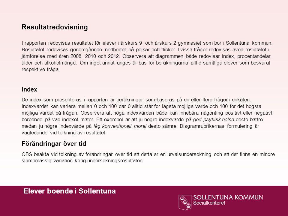 Socialkontoret Elever boende i Sollentuna Resultatredovisning I rapporten redovisas resultatet för elever i årskurs 9 och årskurs 2 gymnasiet som bor