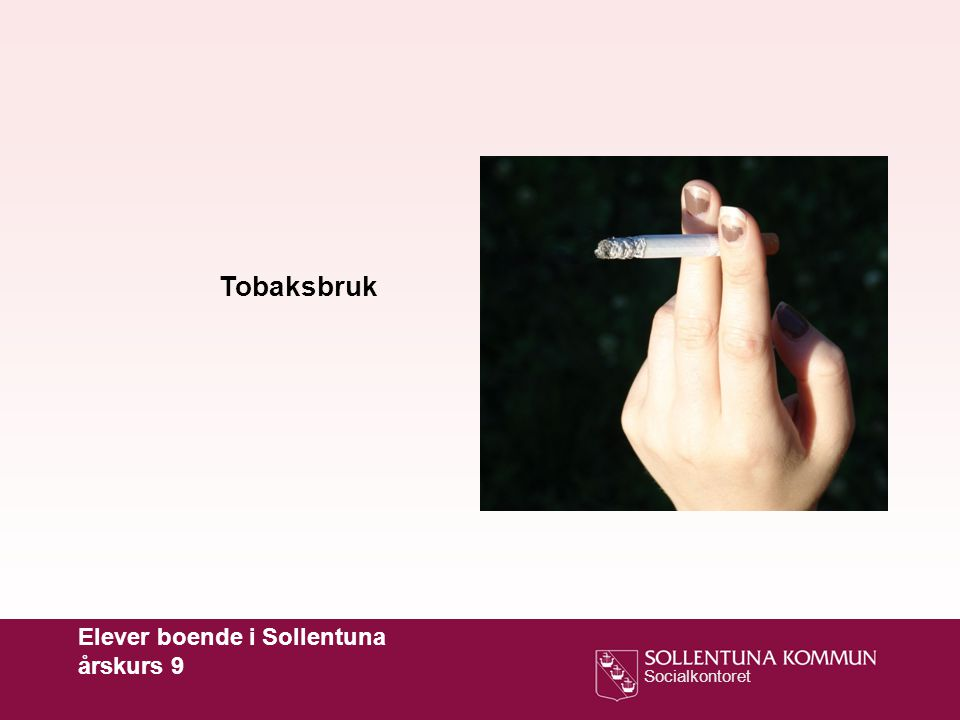 Socialkontoret Tobaksbruk Elever boende i Sollentuna årskurs 9