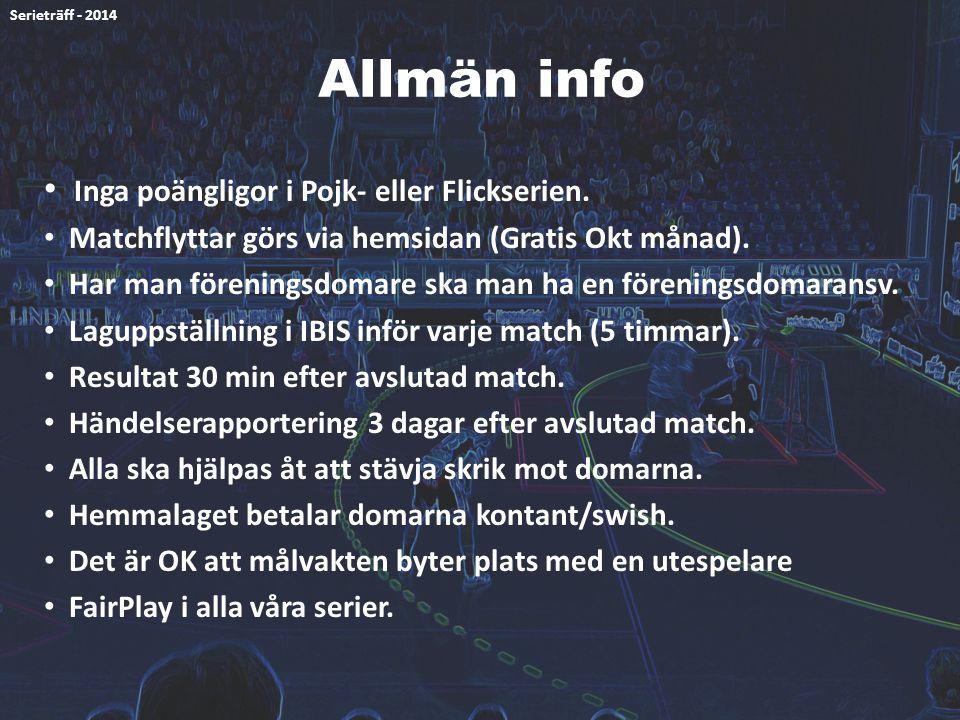 Allmän info Inga poängligor i Pojk- eller Flickserien. Matchflyttar görs via hemsidan (Gratis Okt månad). Har man föreningsdomare ska man ha en föreni