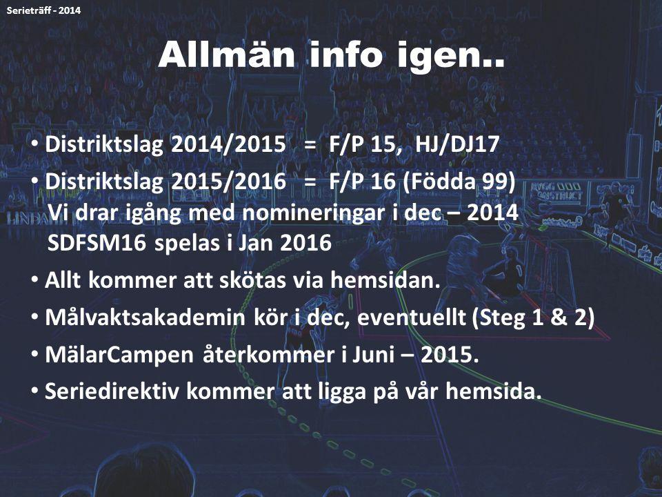Allmän info igen.. Distriktslag 2014/2015 = F/P 15, HJ/DJ17 Distriktslag 2015/2016 = F/P 16 (Födda 99) Vi drar igång med nomineringar i dec – 2014 SDF
