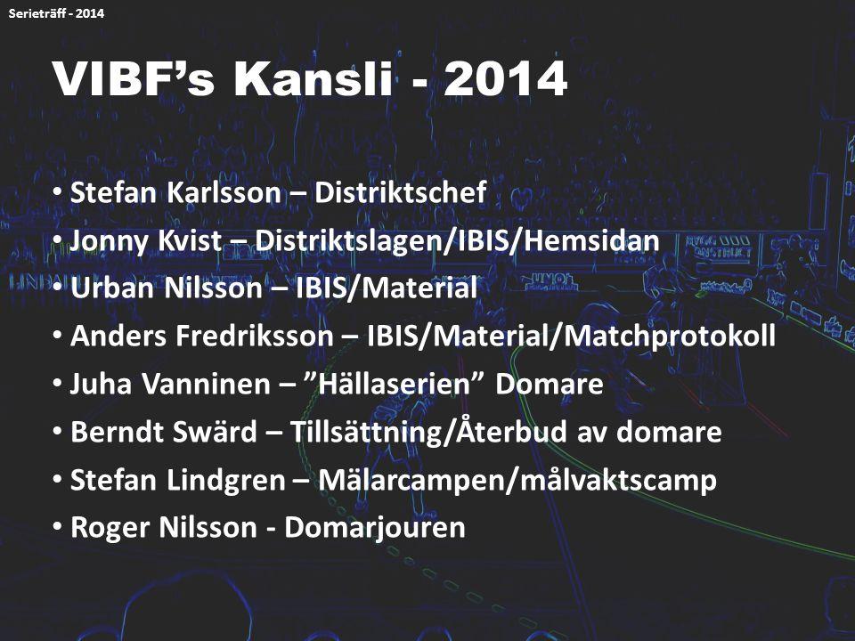 VIBF's Kansli - 2014 Stefan Karlsson – Distriktschef Jonny Kvist – Distriktslagen/IBIS/Hemsidan Urban Nilsson – IBIS/Material Anders Fredriksson – IBI