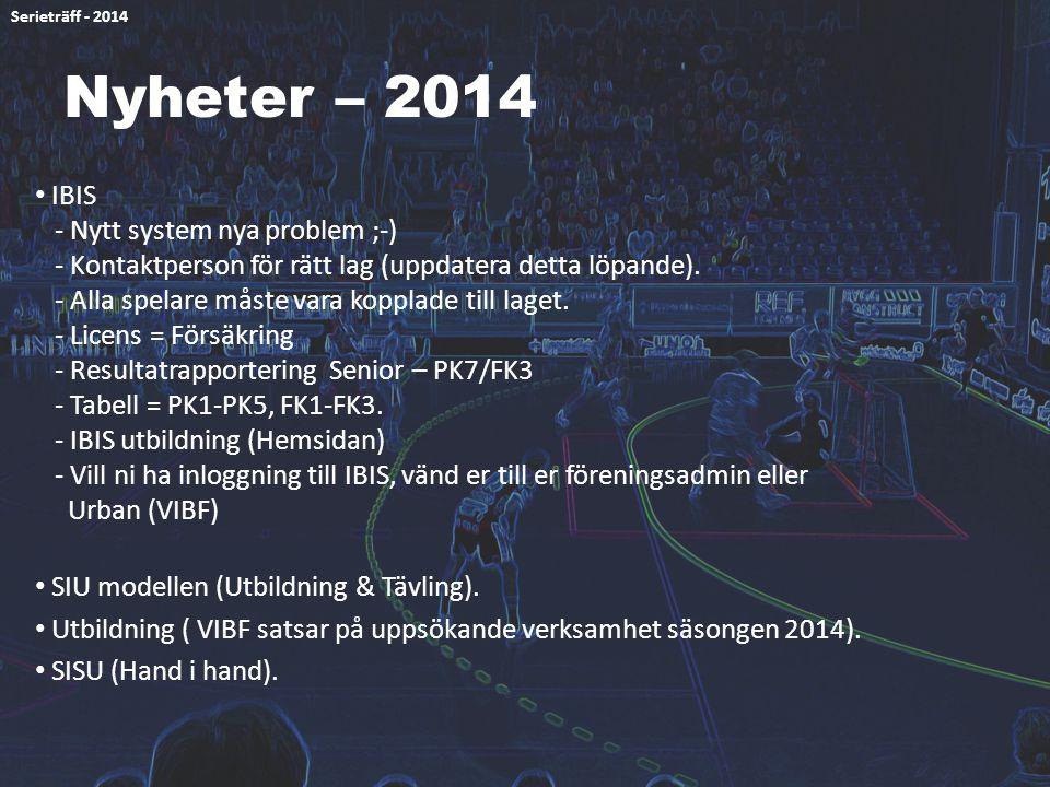 Nyheter – 2014 IBIS - Nytt system nya problem ;-) - Kontaktperson för rätt lag (uppdatera detta löpande). - Alla spelare måste vara kopplade till lage