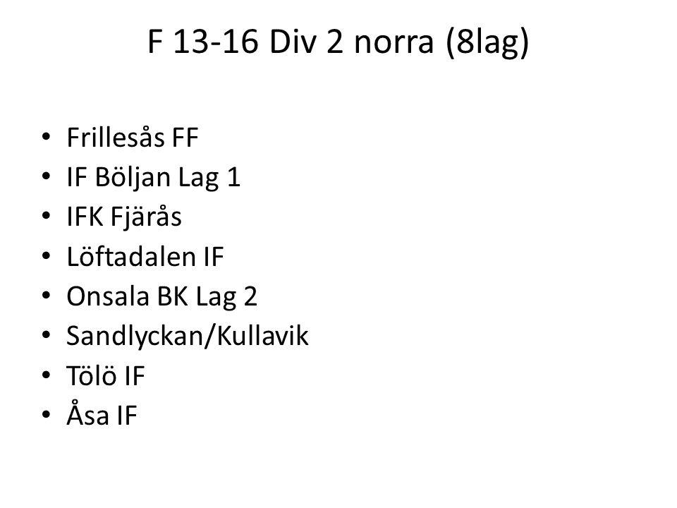 F 13-16 Div 2 norra (8lag) Frillesås FF IF Böljan Lag 1 IFK Fjärås Löftadalen IF Onsala BK Lag 2 Sandlyckan/Kullavik Tölö IF Åsa IF