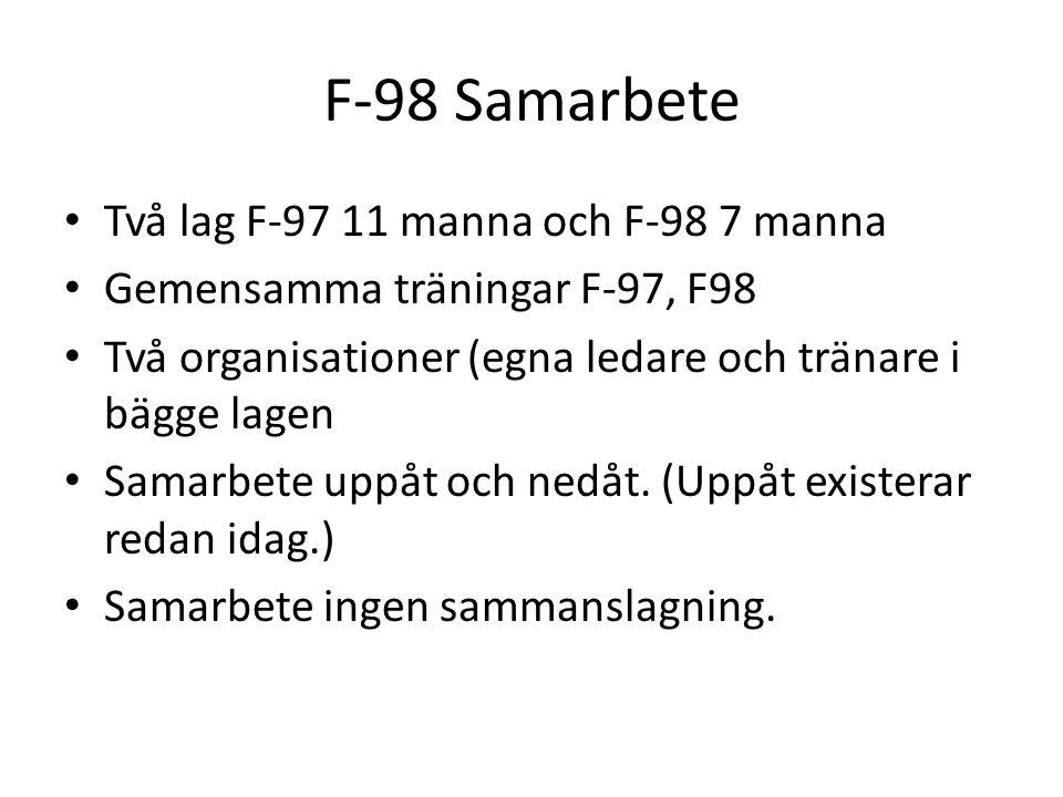 F-98 Samarbete Två lag F-97 11 manna och F-98 7 manna Gemensamma träningar F-97, F98 Två organisationer (egna ledare och tränare i bägge lagen Samarbete uppåt och nedåt.