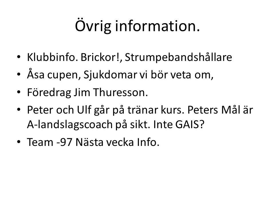 Övrig information. Klubbinfo.