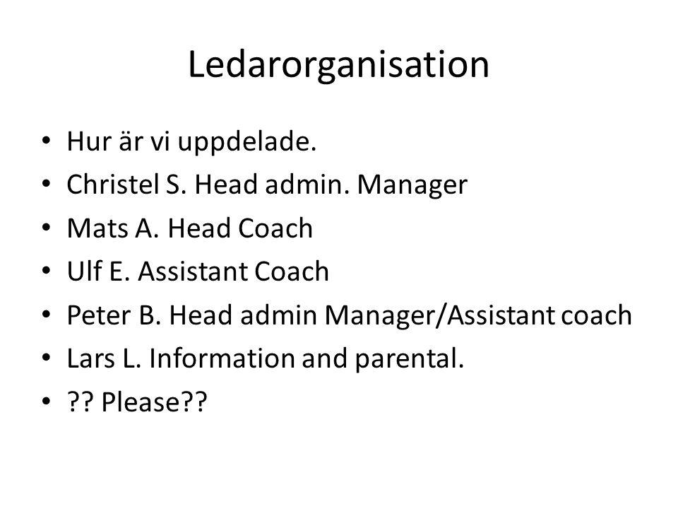 Ledarorganisation Hur är vi uppdelade. Christel S.