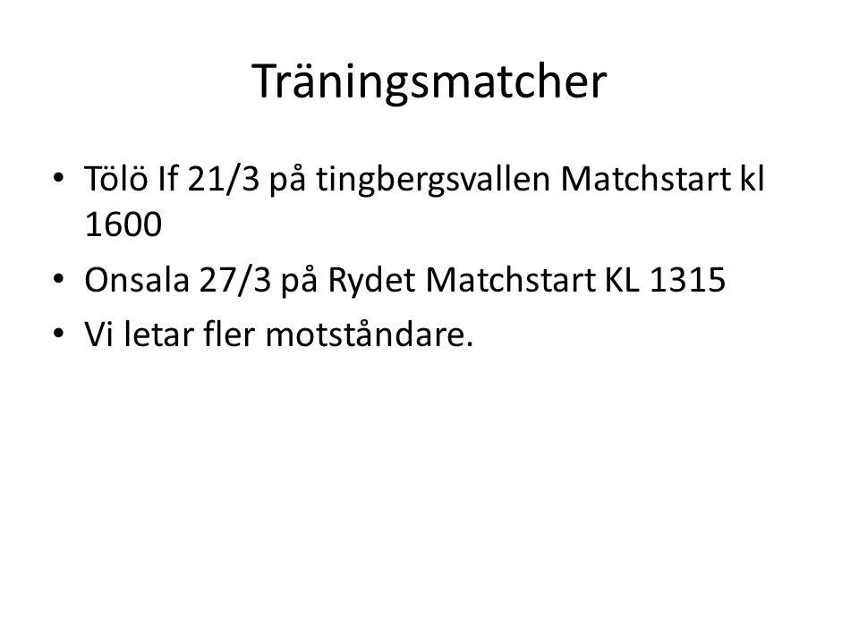 Träningsmatcher Tölö If 21/3 på tingbergsvallen Matchstart kl 1600 Onsala 27/3 på Rydet Matchstart KL 1315 Vi letar fler motståndare.