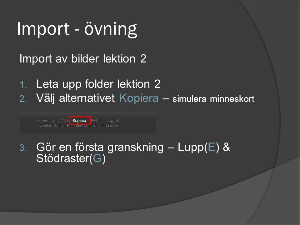 Import - övning Import av bilder lektion 2 1. Leta upp folder lektion 2 2. Välj alternativet Kopiera – simulera minneskort 3. Gör en första granskning