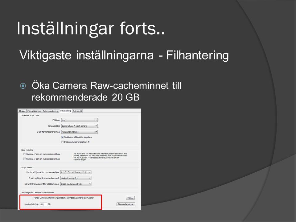 Inställningar forts.. Viktigaste inställningarna - Filhantering  Öka Camera Raw-cacheminnet till rekommenderade 20 GB