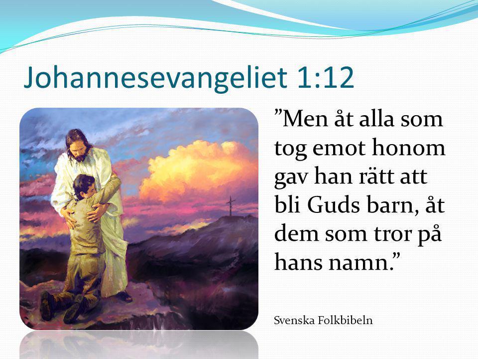 """Johannesevangeliet 1:12 """"Men åt alla som tog emot honom gav han rätt att bli Guds barn, åt dem som tror på hans namn."""" Svenska Folkbibeln"""