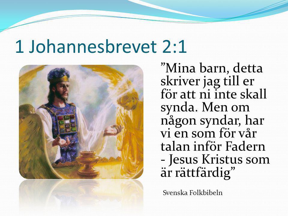 """1 Johannesbrevet 2:1 """"Mina barn, detta skriver jag till er för att ni inte skall synda. Men om någon syndar, har vi en som för vår talan inför Fadern"""
