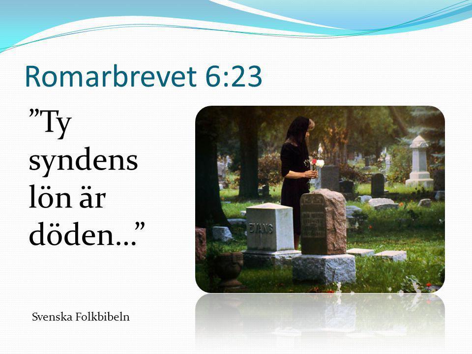 """Romarbrevet 6:23 """"Ty syndens lön är döden…"""" Svenska Folkbibeln"""