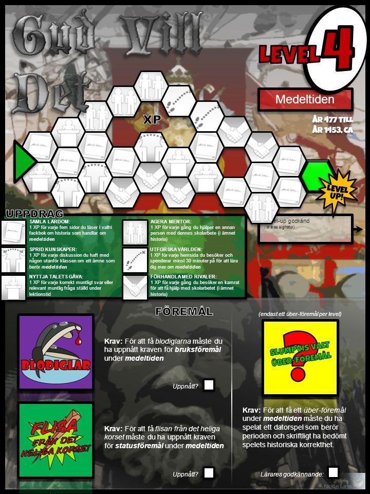 Level-up godkänd (lärares signatur) Krav: För att få ett über-föremål under medeltiden måste du ha spelat ett datorspel som berör perioden och skriftligt ha bedömt spelets historiska korrekthet.