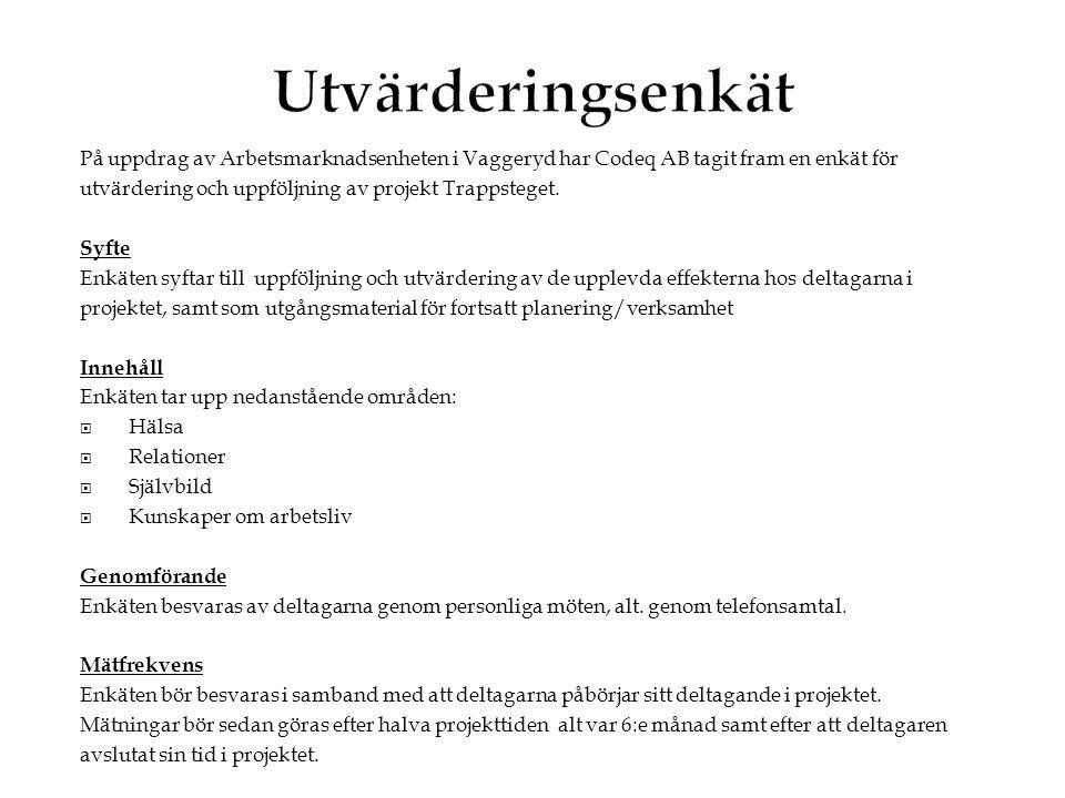 På uppdrag av Arbetsmarknadsenheten i Vaggeryd har Codeq AB tagit fram en enkät för utvärdering och uppföljning av projekt Trappsteget. Syfte Enkäten