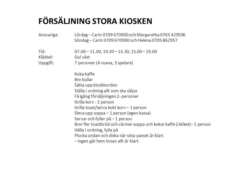 PARKERING Ansvarig: Niklas Gerhardsson Tid: 07.00 – 9.00 Klädsel:Gul väst, insamlingsburk Uppgift:3 personer (En vuxen, två spelare) Dirigera bilar för effektiv parkering Ta emot betalning av frivillig parkeringsavgift