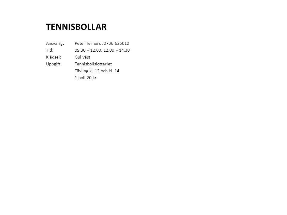 TENNISBOLLAR Ansvarig: Peter Ternerot 0736 625010 Tid: 09.30 – 12.00, 12.00 – 14.30 Klädsel:Gul väst Uppgift:Tennisbollslotteriet Tävling kl. 12 och k