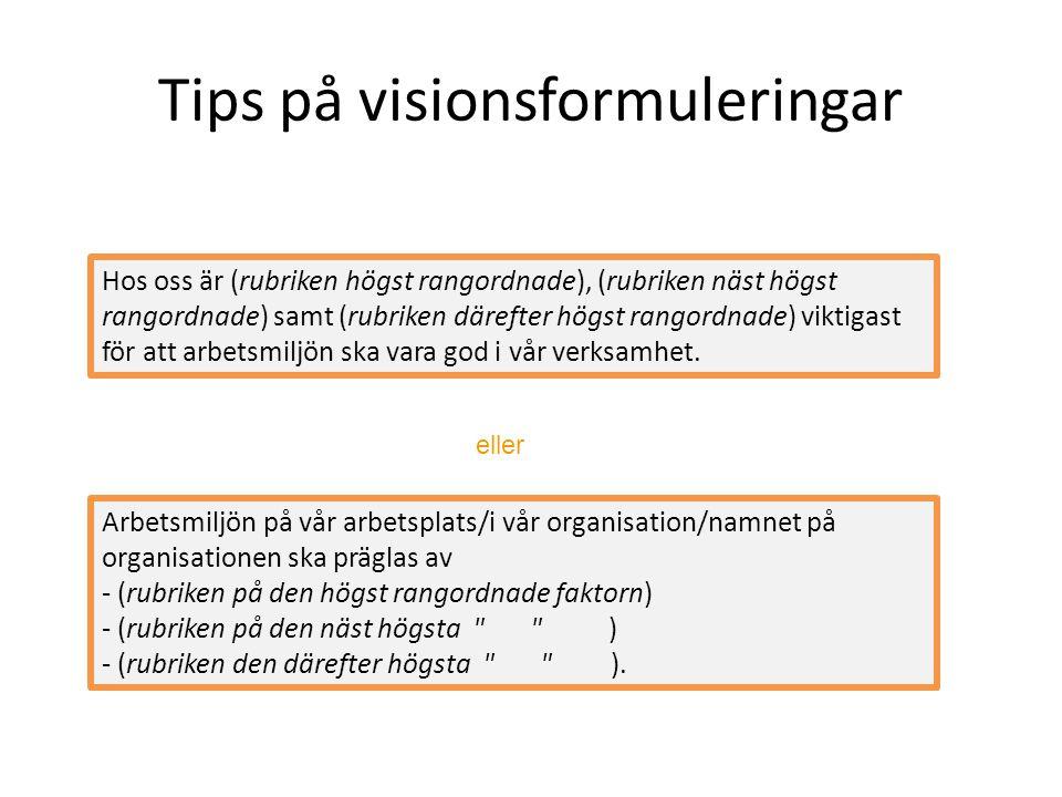 Tips på visionsformuleringar Arbetsmiljön på vår arbetsplats/i vår organisation/namnet på organisationen ska präglas av - (rubriken på den högst rango