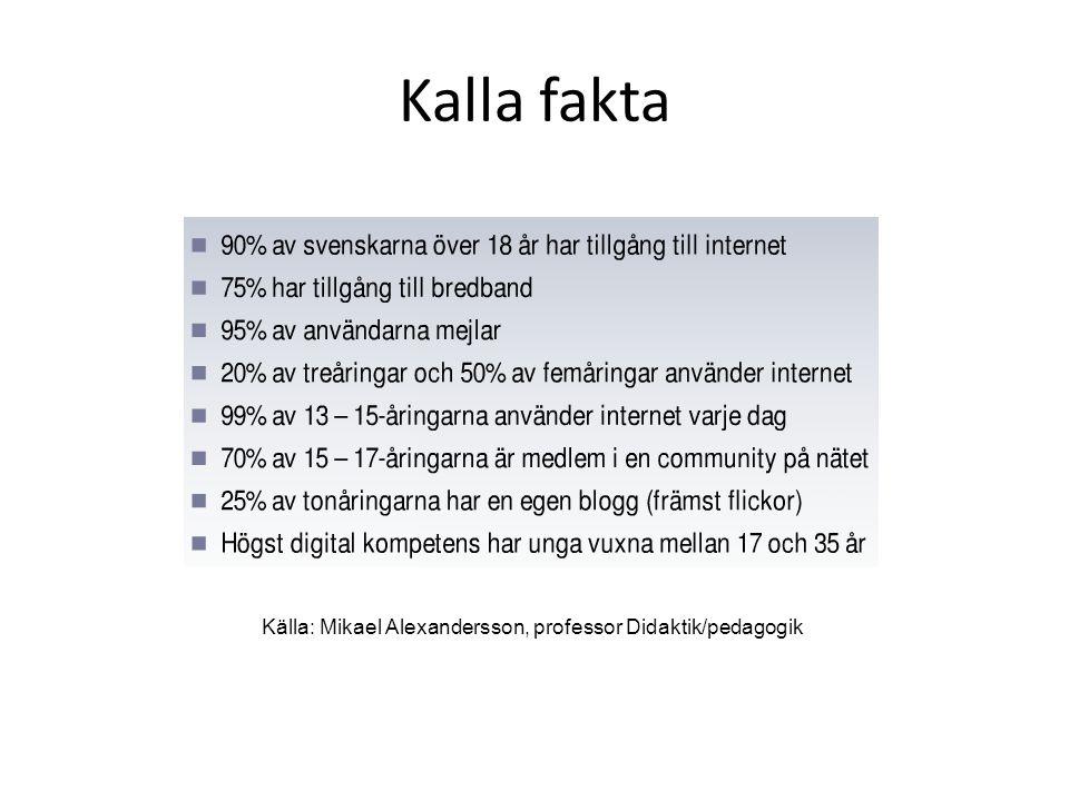 Kalla fakta Källa: Mikael Alexandersson, professor Didaktik/pedagogik