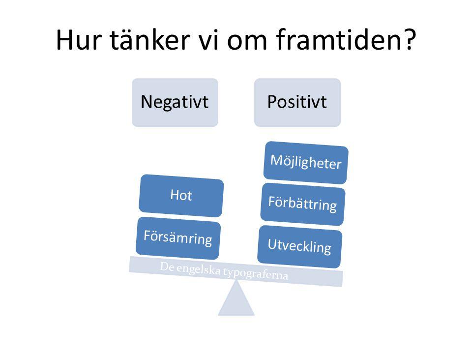 NegativtPositivt UtvecklingFörbättringMöjligheterFörsämringHot Hur tänker vi om framtiden? De engelska typograferna