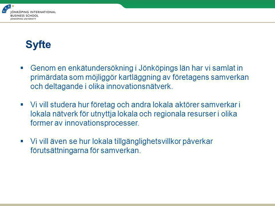 Syfte  Genom en enkätundersökning i Jönköpings län har vi samlat in primärdata som möjliggör kartläggning av företagens samverkan och deltagande i olika innovationsnätverk.