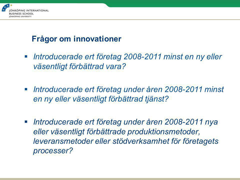 Frågor om innovationer  Introducerade ert företag 2008-2011 minst en ny eller väsentligt förbättrad vara?  Introducerade ert företag under åren 2008