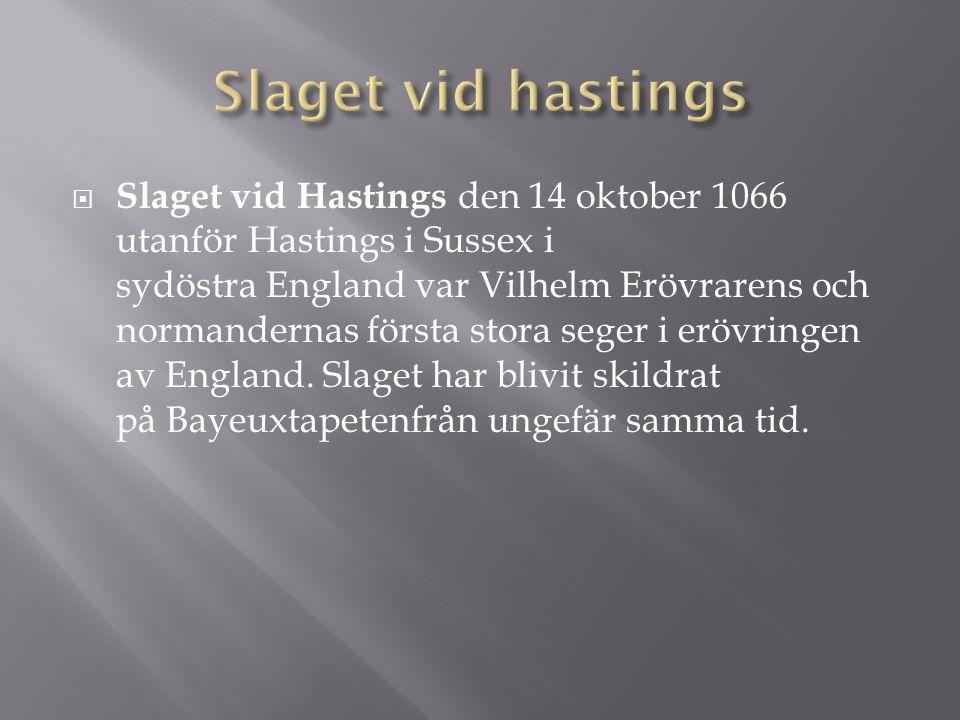  Slaget vid Hastings den 14 oktober 1066 utanför Hastings i Sussex i sydöstra England var Vilhelm Erövrarens och normandernas första stora seger i er