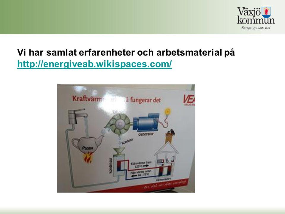 Vi har samlat erfarenheter och arbetsmaterial på http://energiveab.wikispaces.com/ http://energiveab.wikispaces.com/