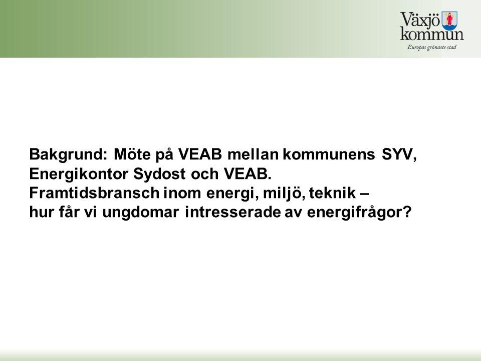 Bakgrund: Möte på VEAB mellan kommunens SYV, Energikontor Sydost och VEAB.