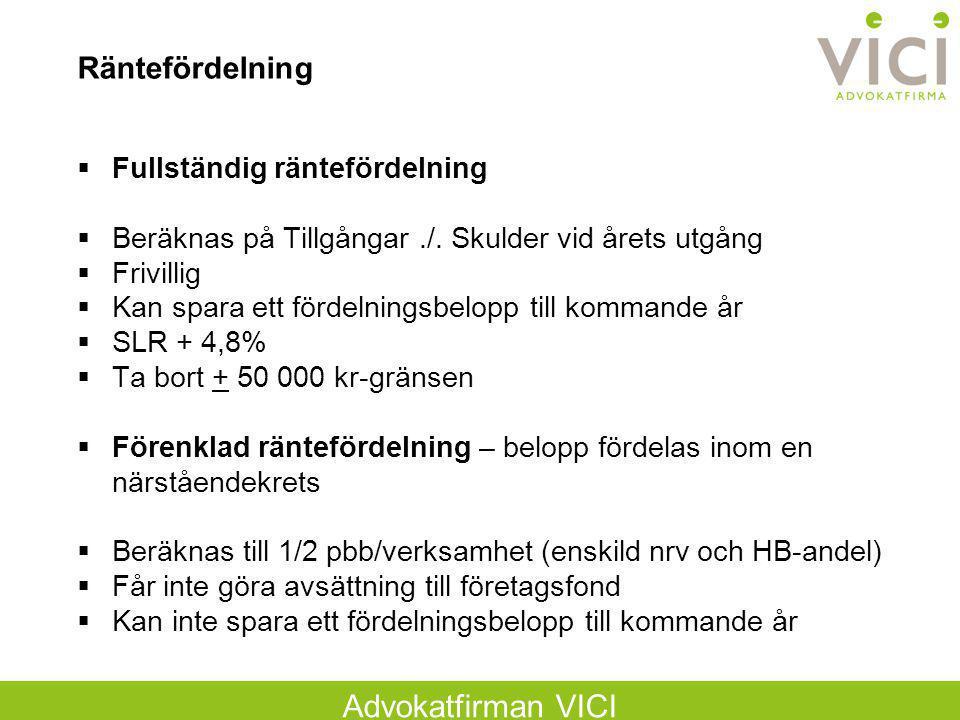 Advokatfirman VICI Räntefördelning  Fullständig räntefördelning  Beräknas på Tillgångar./. Skulder vid årets utgång  Frivillig  Kan spara ett förd