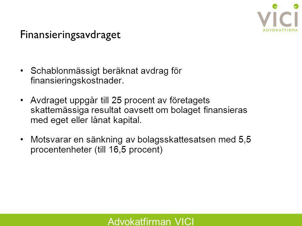 Advokatfirman VICI Finansieringsavdraget Schablonmässigt beräknat avdrag för finansieringskostnader. Avdraget uppgår till 25 procent av företagets ska