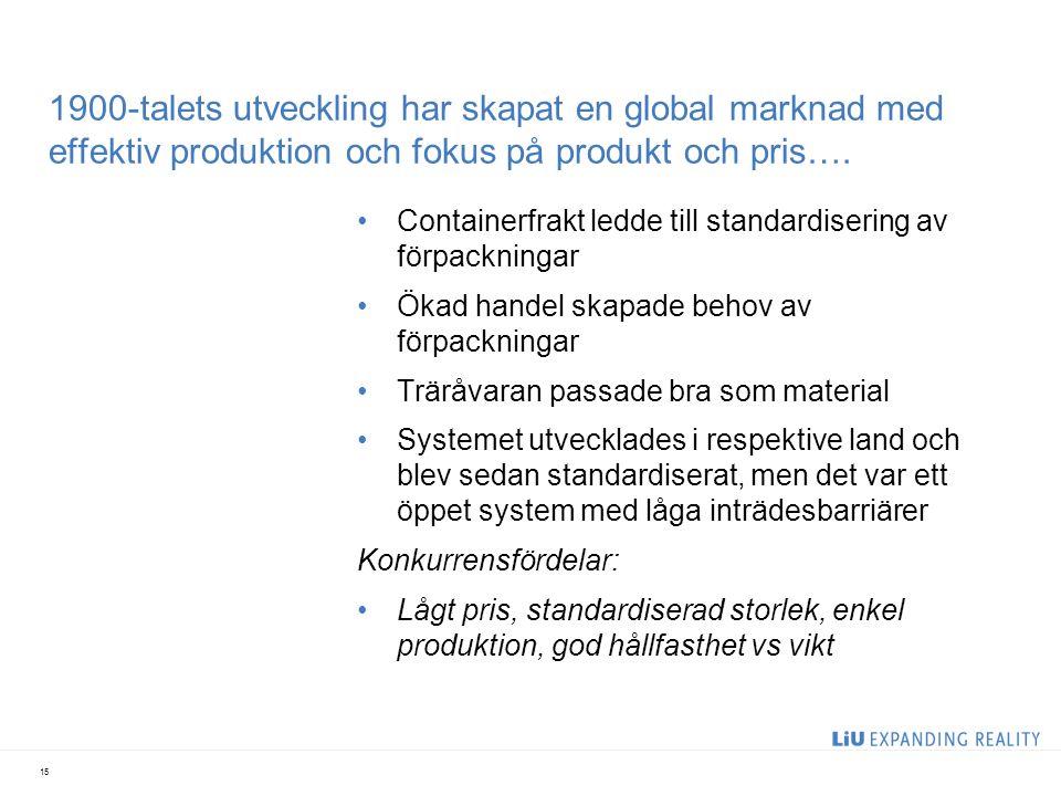 1900-talets utveckling har skapat en global marknad med effektiv produktion och fokus på produkt och pris…. Containerfrakt ledde till standardisering