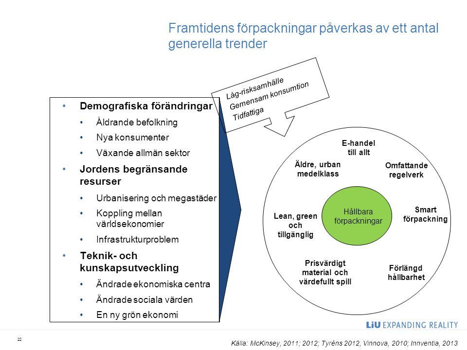 Framtidens förpackningar påverkas av ett antal generella trender Demografiska förändringar Åldrande befolkning Nya konsumenter Växande allmän sektor J