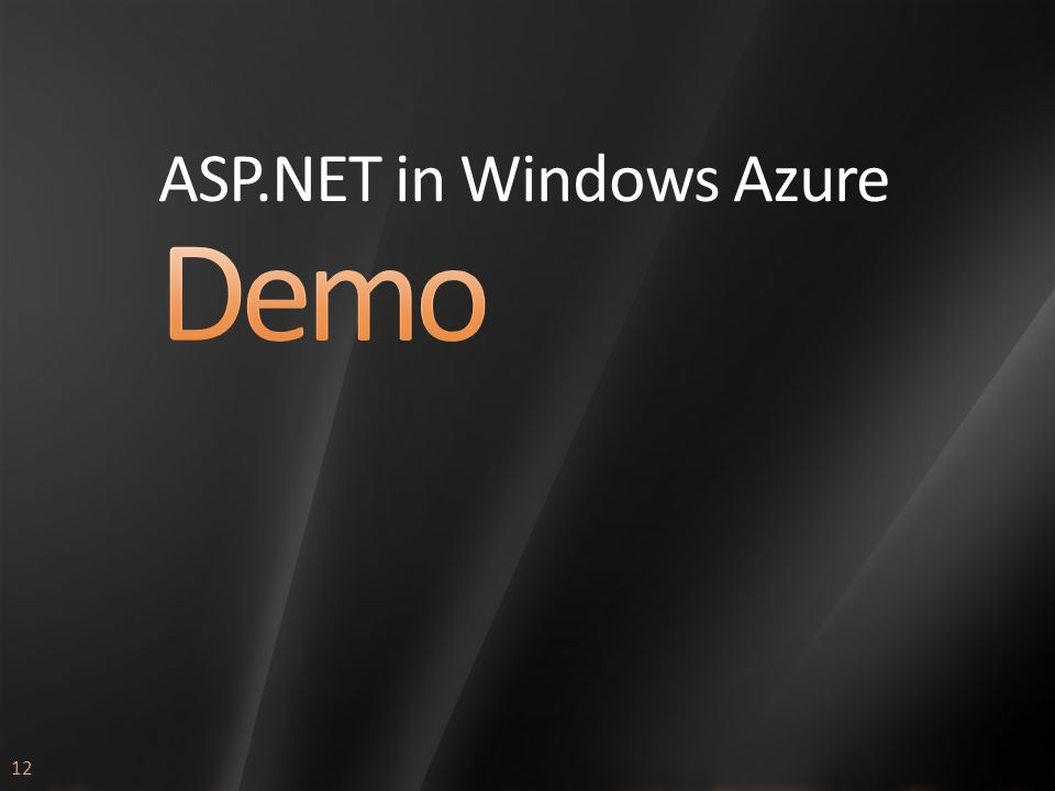 12 ASP.NET in Windows Azure