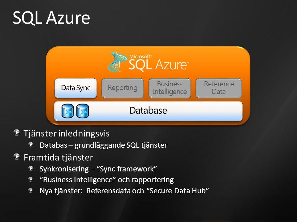 SQL Azure Tjänster inledningsvis Databas – grundläggande SQL tjänster Framtida tjänster Synkronisering – Sync framework Business Intelligence och rapportering Nya tjänster: Referensdata och Secure Data Hub Reference Data Business Intelligence Reporting