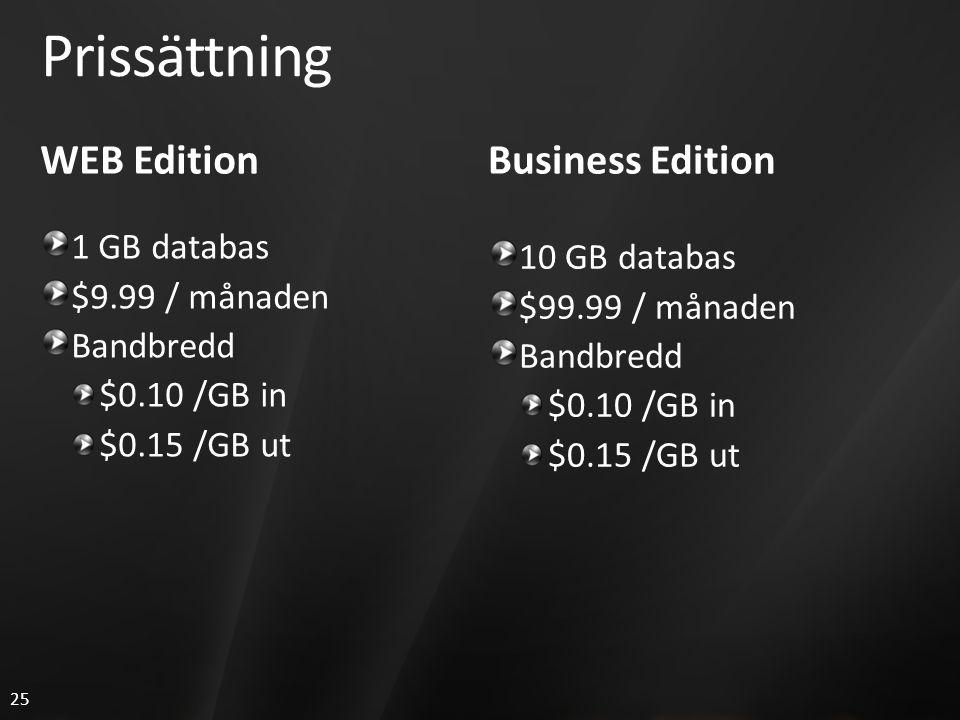 25 Prissättning WEB Edition 1 GB databas $9.99 / månaden Bandbredd $0.10 /GB in $0.15 /GB ut Business Edition 10 GB databas $99.99 / månaden Bandbredd