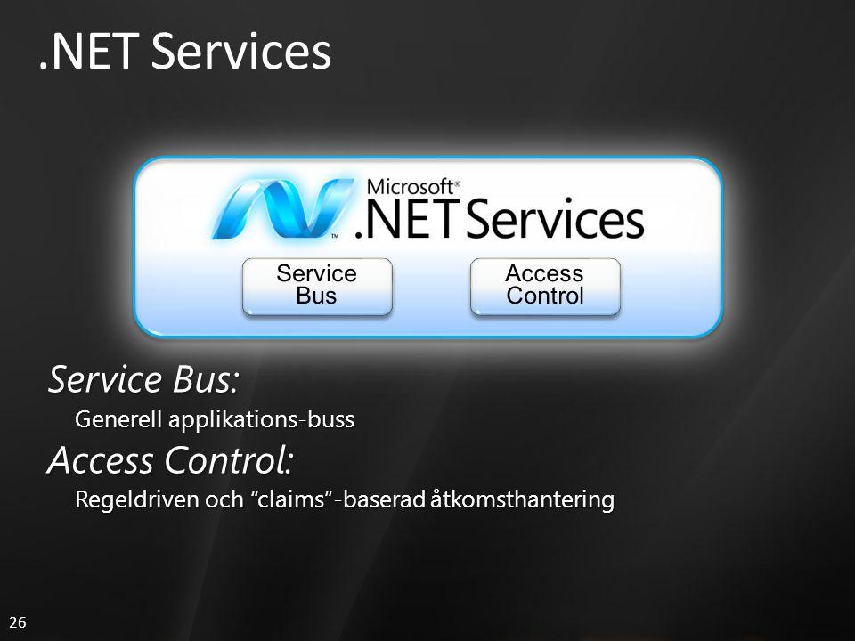 26.NET Services Service Bus: Generell applikations-buss Access Control: Regeldriven och claims -baserad åtkomsthantering
