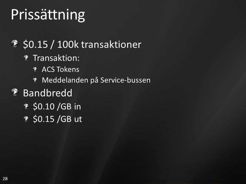 28 Prissättning $0.15 / 100k transaktioner Transaktion: ACS Tokens Meddelanden på Service-bussen Bandbredd $0.10 /GB in $0.15 /GB ut
