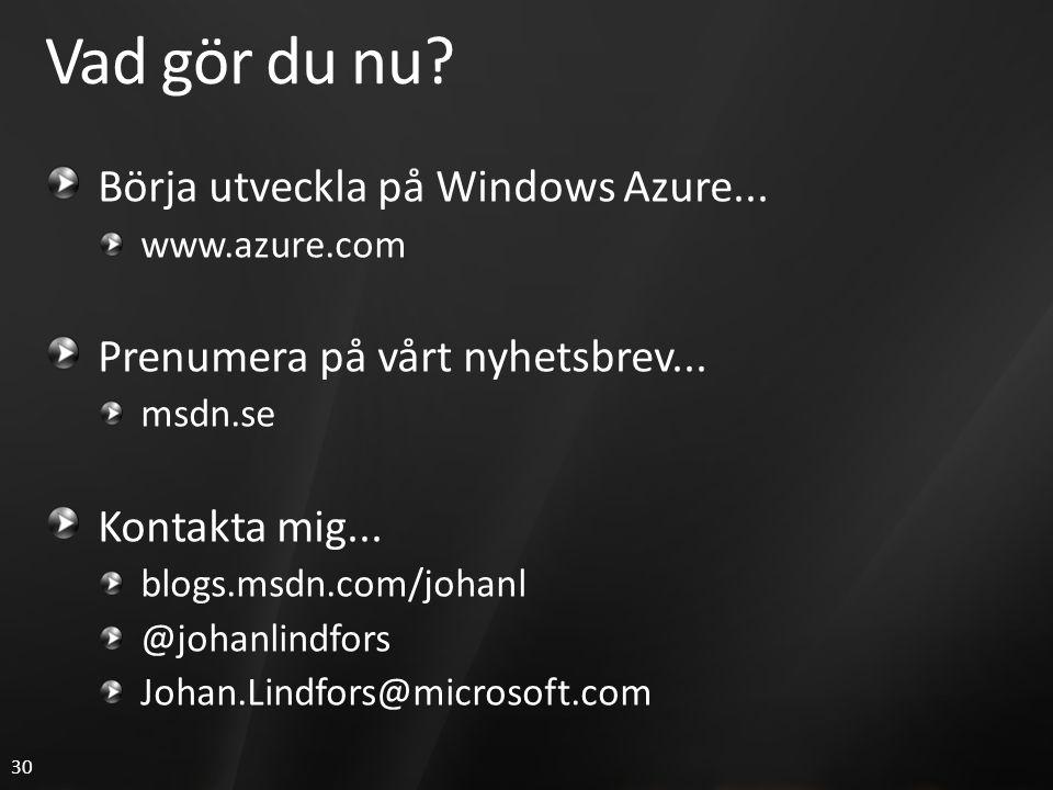 30 Vad gör du nu? Börja utveckla på Windows Azure... www.azure.com Prenumera på vårt nyhetsbrev... msdn.se Kontakta mig... blogs.msdn.com/johanl @joha