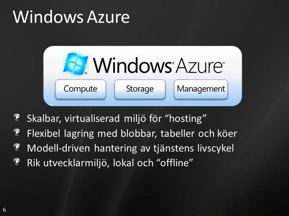 6 Windows Azure Skalbar, virtualiserad miljö för hosting Flexibel lagring med blobbar, tabeller och köer Modell-driven hantering av tjänstens livscykel Rik utvecklarmiljö, lokal och offline