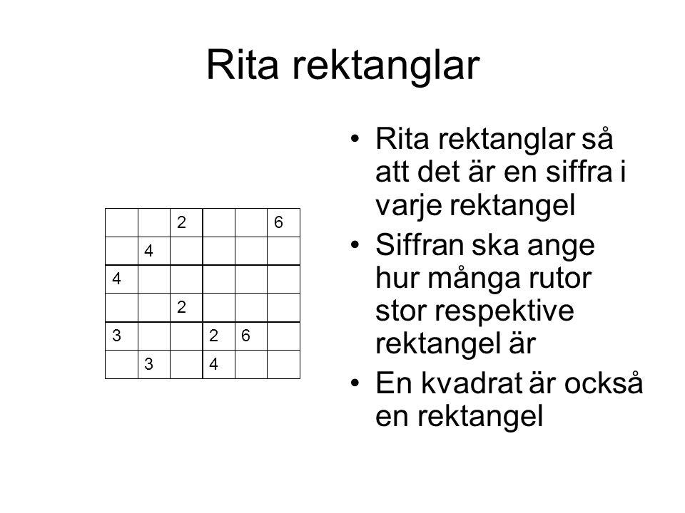 Rita rektanglar 2 4 6 4 2 32 34 6 Rita rektanglar så att det är en siffra i varje rektangel Siffran ska ange hur många rutor stor respektive rektangel