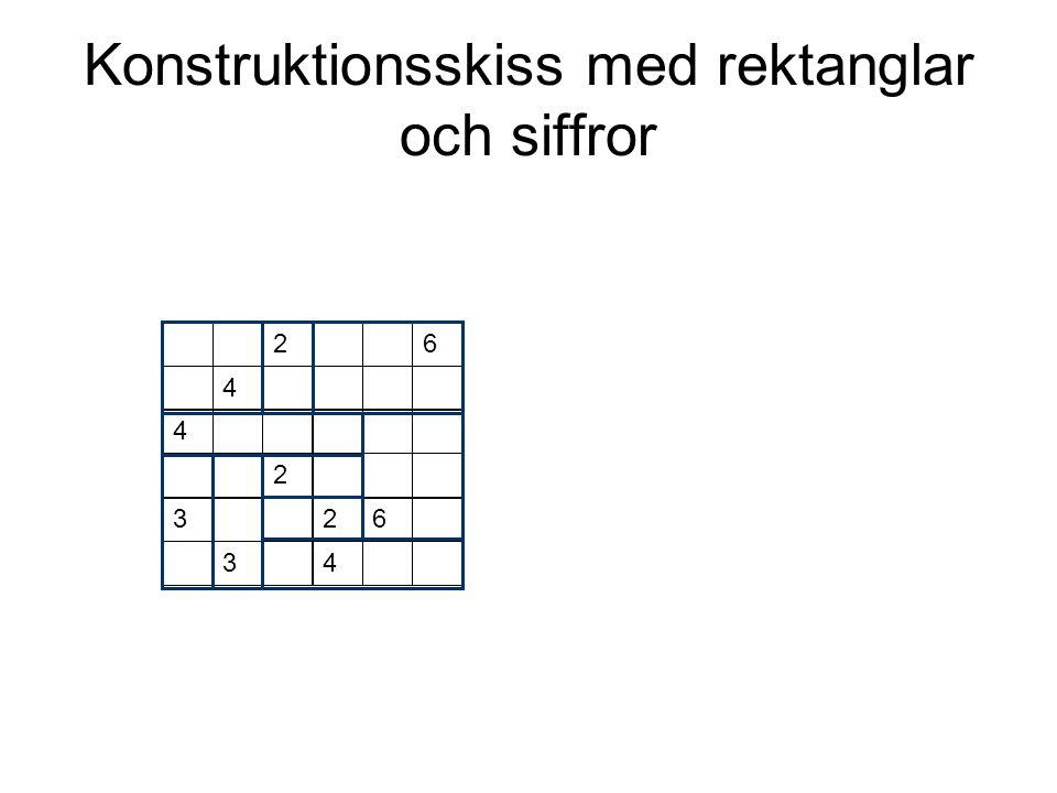 Konstruktionsskiss med rektanglar och siffror 2 4 6 4 2 32 34 6