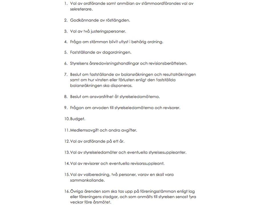 Dagordning 11. Medlemsavgift och andra avgifter Förslag För 2015: 60 kronor