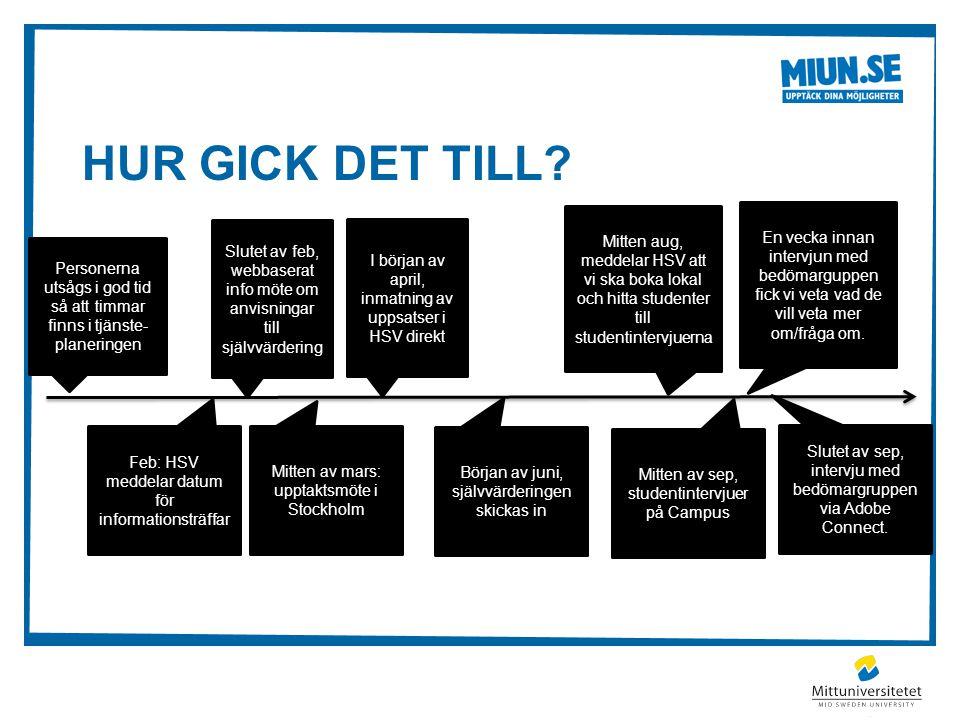 HUR GICK DET TILL? Slutet av feb, webbaserat info möte om anvisningar till självvärdering Feb: HSV meddelar datum för informationsträffar Personerna u