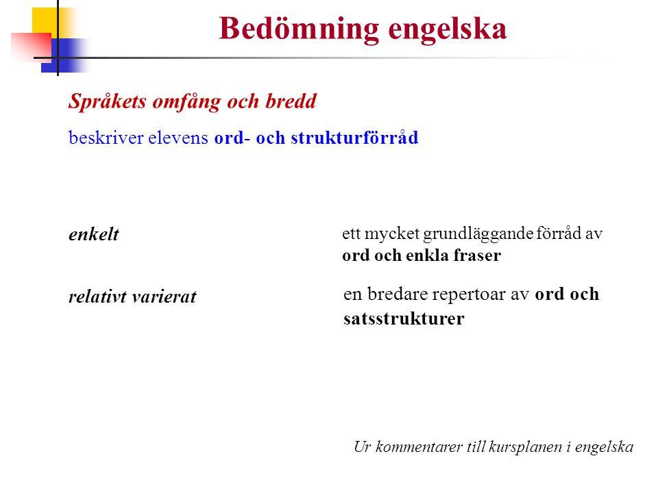 Bedömning engelska Språkets omfång och bredd beskriver elevens ord- och strukturförråd enkelt relativt varierat ett mycket grundläggande förråd av ord